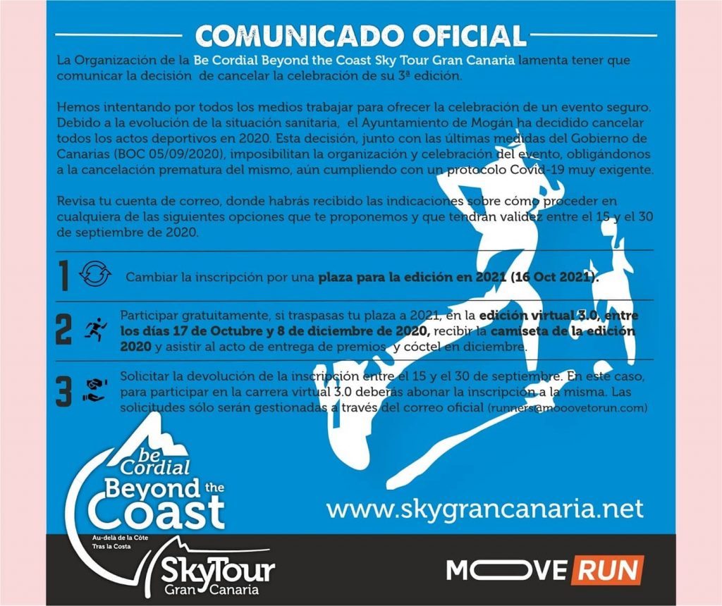 Cancelada Sky Tour Gran Canaria 2020