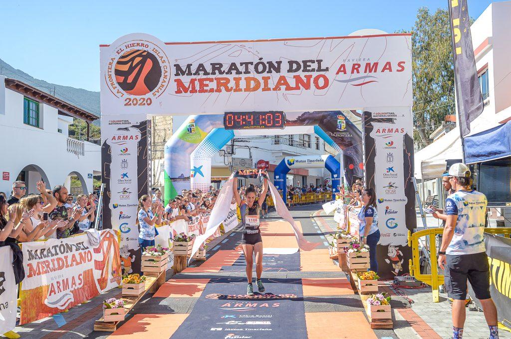Estela Guerra ganando Maratón del Meridiano 2020
