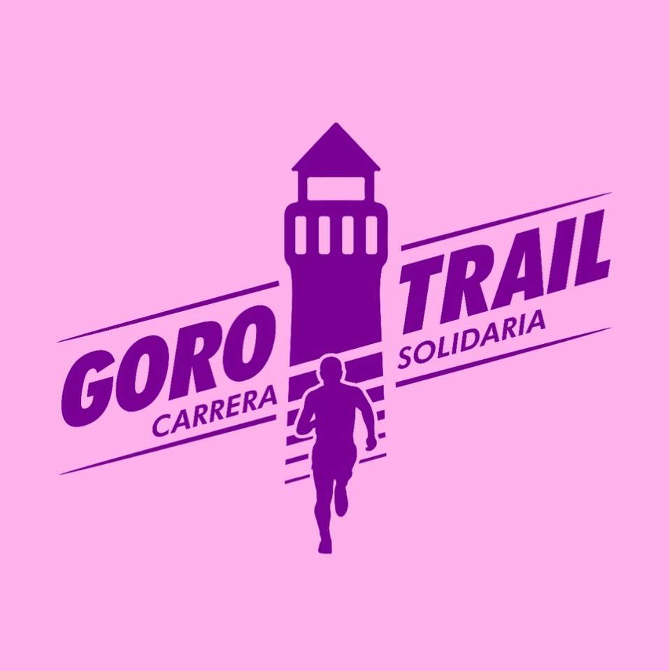 Logo oficial de la Goro Trail en color rosa de fondo