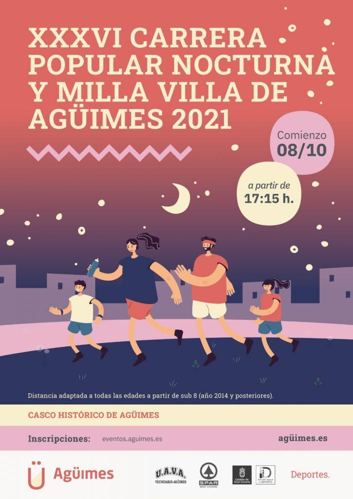 Cartel oficial de la Carrera Popular Nocturna de Agüimes 2021
