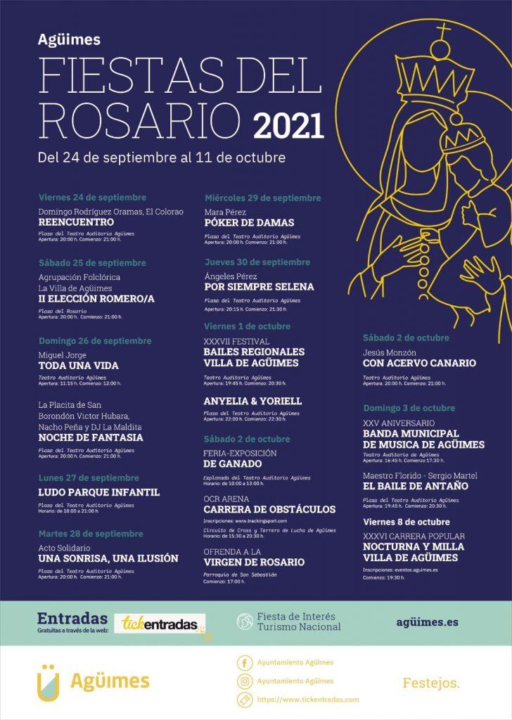 Cartel oficial de las Fiestas del Rosario anunciando la Carrera Popular Nocturna de Agüimes 2021