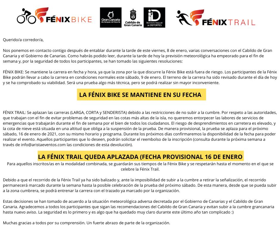 Aplazamiento Fénix Trail 2021
