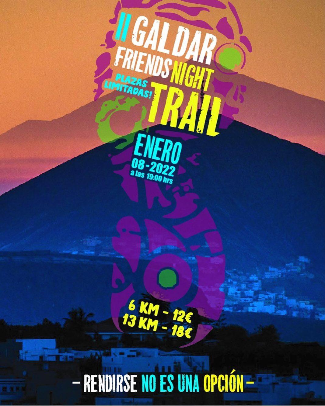 Cartel oficial de la carrera Gáldar Friends Night Trail 2022 organizada por galdarfriends