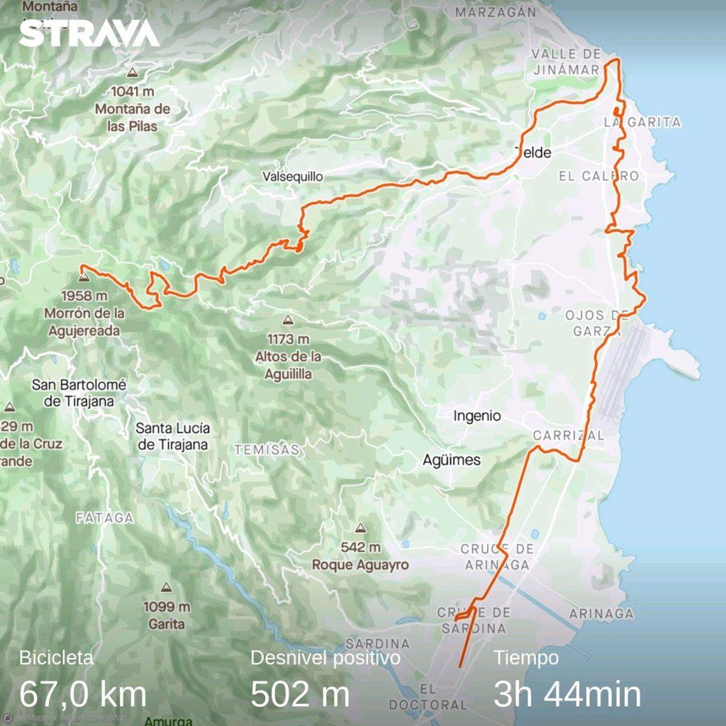 Recorrido de la bajada del Pico de las Nieves MTB