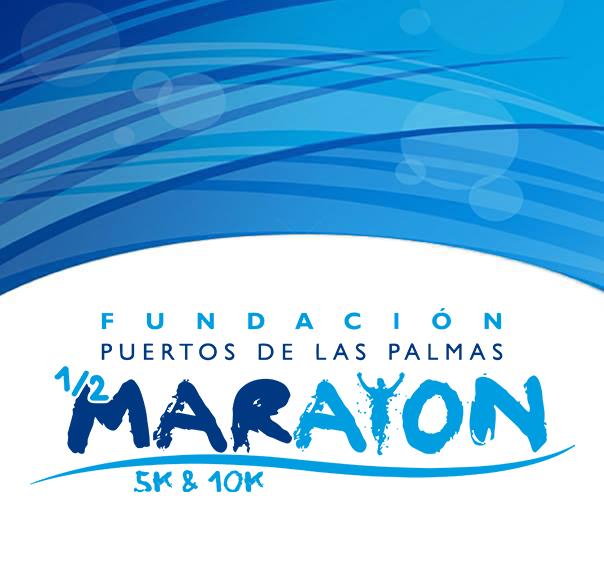 Logotipo oficial de la Media Maratón del Puerto 2022 - Corre Fundación Puertos de Las Palmas