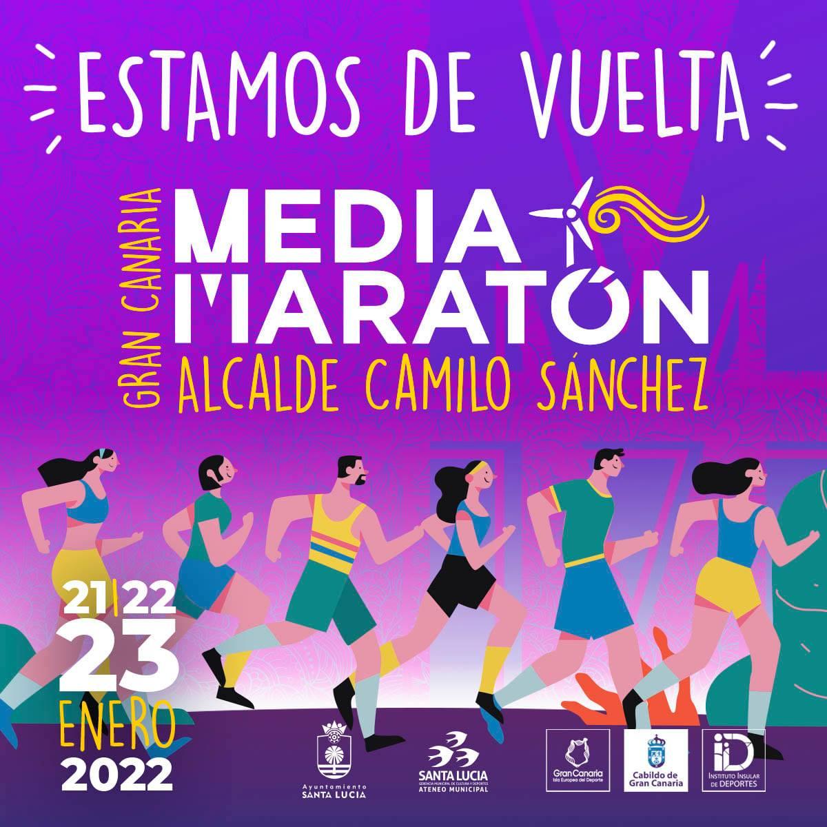 Cartel oficial de la Gran Canaria Media Maratón 2022 Alcalde Camilo Sánchez
